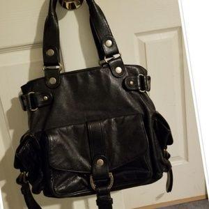KOOBA Black Leather Satchel w/Brass Embellishments